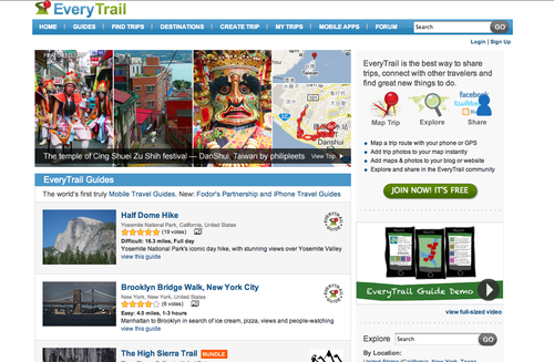 13 everytrail homepage