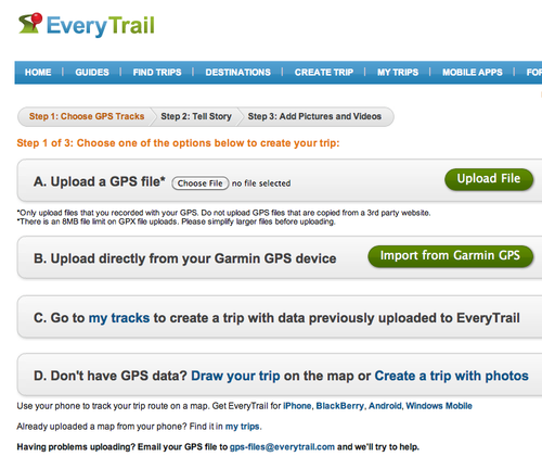 6 gps upload page everytrail